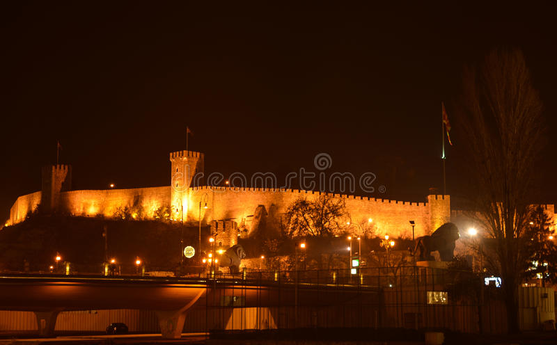 The Skopje Fortress, Kale. The Skopje Fortress, commonly referred to as Kale Fortress, or simply Kale , is a historic fortress located in the old town of Skopje stock image