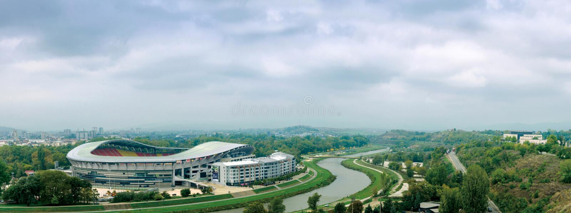 Skopje, Macedonië, panorama van sportvoetbal stadion geroepen Filip II royalty-vrije stock foto