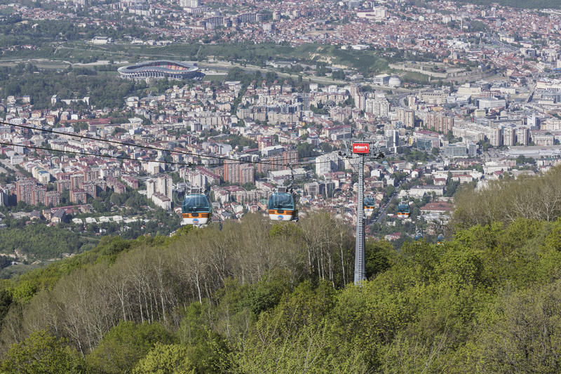 SKOPJE, MACEDONIA - APRIL16, 2016: Aerial view of cable car on V royalty free stock photo