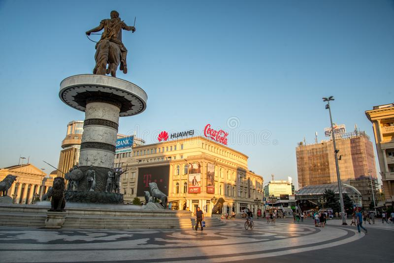 SKOPJE,MACEDONIA-AUGUST 29,2018:Macedonia Square late afternoon in at the center of Skopje royalty free stock photos