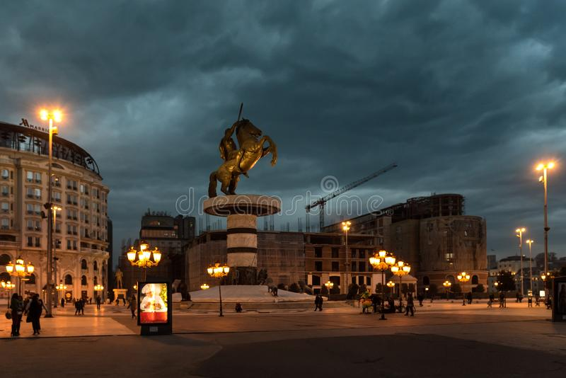 SKOPJE, MACEDONIA - DECEMBER 9 2017 - City Center and Alexander the Great Monument royalty free stock photo