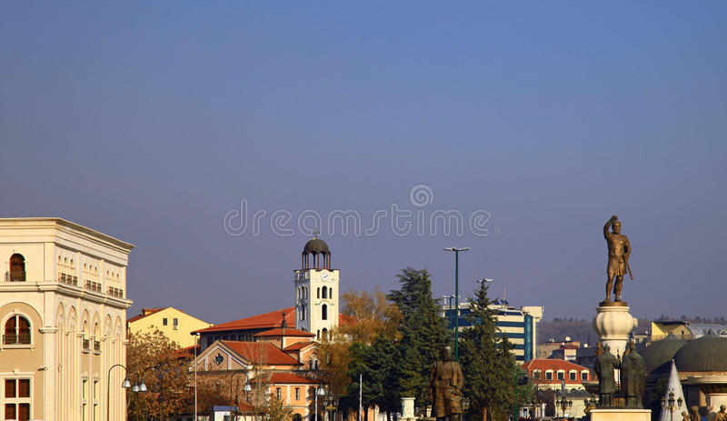 Skopje, Macedonia. Downtown of the Skopje, Macedonia. Winter. Day stock photo