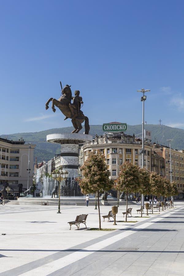 SKOPJE MACEDONIA, KWIECIEŃ, - 14, 2016: Kwadratowy Makedonia capita obrazy stock