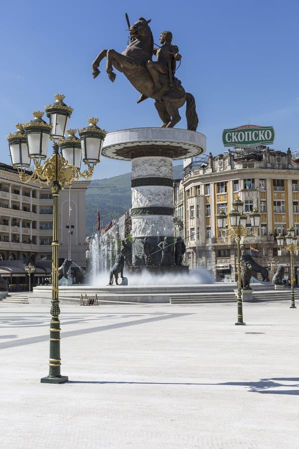 SKOPJE MAKEDONIEN - APRIL 14, 2016: Fyrkantiga Makedonien, capitaen royaltyfri foto