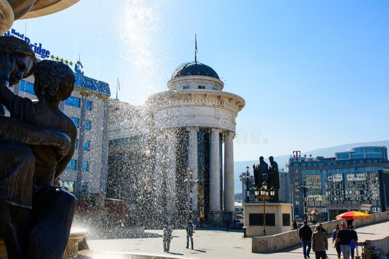 SKOPJE, MAZEDONIEN - 12. OKTOBER 2017: Mazedonien-Quadrat in Skopje lizenzfreie stockfotos