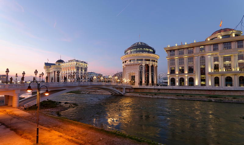 Skopje night scene at dawn stock image