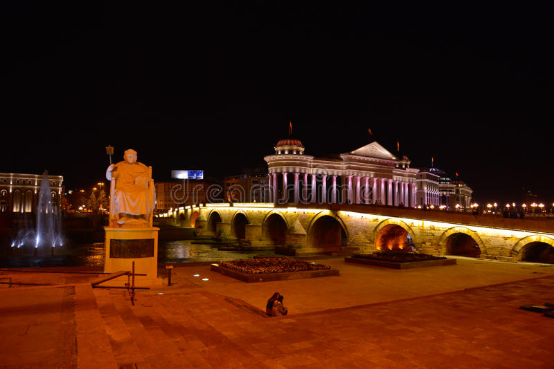 Skopje by night, Tzar Samoil. Picture of a Skopje by night, monuments and buildings of project *Skopje 2014 stock images