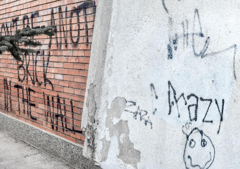 SKOPJE/NORTH MACEDONIA-AUGUST 28 2018. Anti authoritarian graffiti scrawled on a shool yard wall,near Skopje city center royalty free stock image