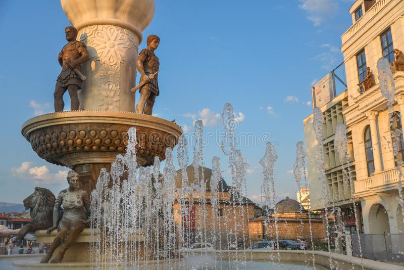 SKOPJE,NORTH MACEDONIA/AUGUST 22 2018. Fountain related to the life of Alexander the Great,situated on the east side of Stone Bridge,Skopje city center stock photography