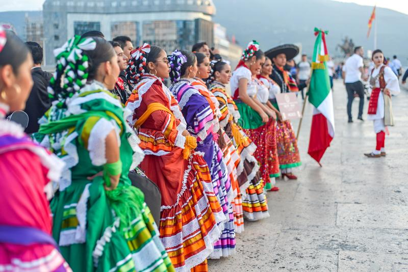 SKOPJE/NORTH MACEDONIA-AUGUST 28 2018. Mexican performers,Skopje International festival of music and dance.Multi national participants parade across Stone stock photography