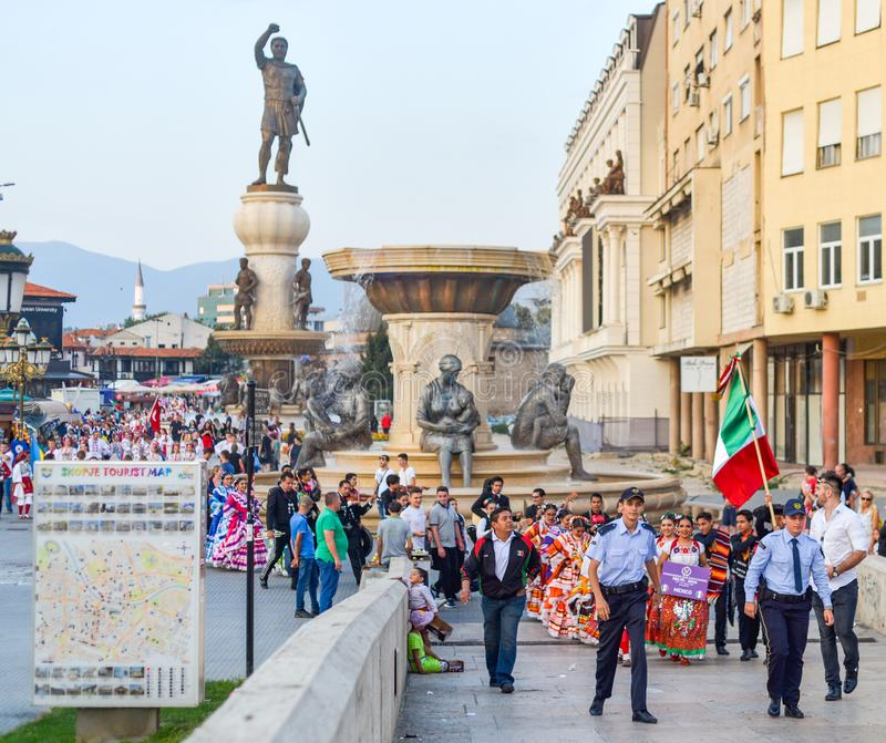 SKOPJE/NORTH MACEDONIA-AUGUST 28 2018 arkivbild