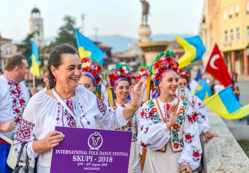 SKOPJE/NORTH MACEDONIA-AUGUST 28 2018. Ukranian performers at Skopje International festival of music and dance.Multi national participants parade across Stone stock images