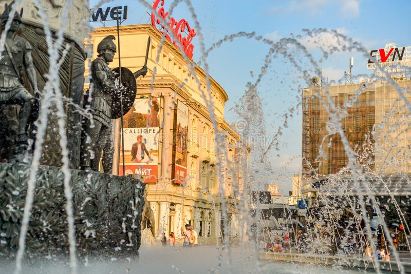 SKOPJE/NORTH MACEDONIA-AUGUST 28 2018. Water jets,statues and spray at main fountain,Macedonia square stock photo