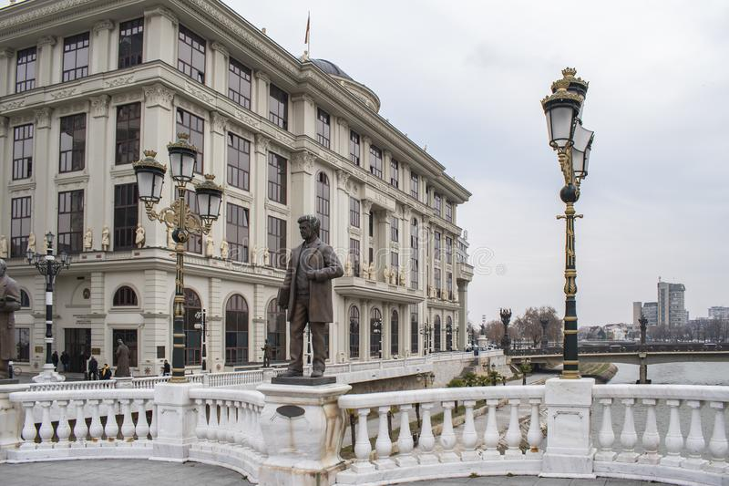 View of Ministry of Foreign Affairs building from Art Bridge. Skopje, North Macedonia - December 2018: View of Ministry of Foreign Affairs building from Art royalty free stock images