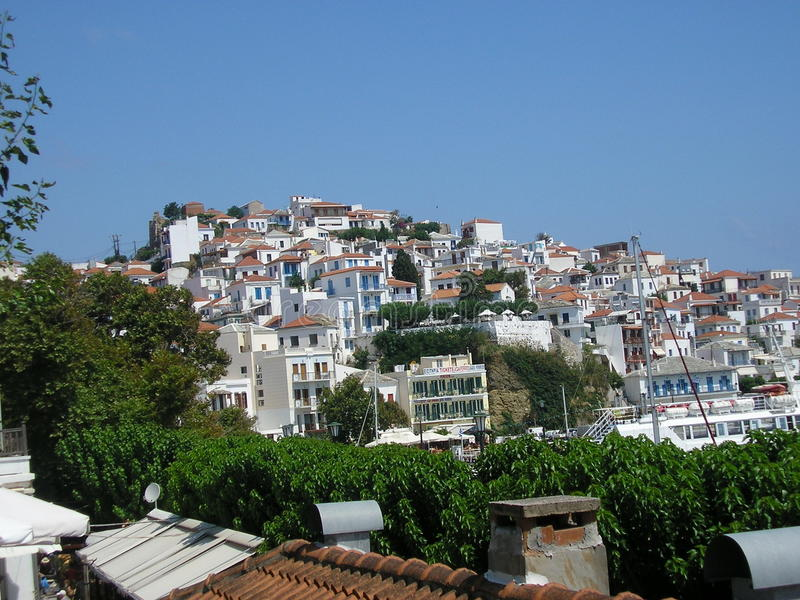Skopolos Town stock photo