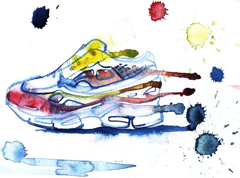 Skor diagram för Sportin gymnastikskogymnastikskor, symbol, vattenfärg dra stock illustrationer