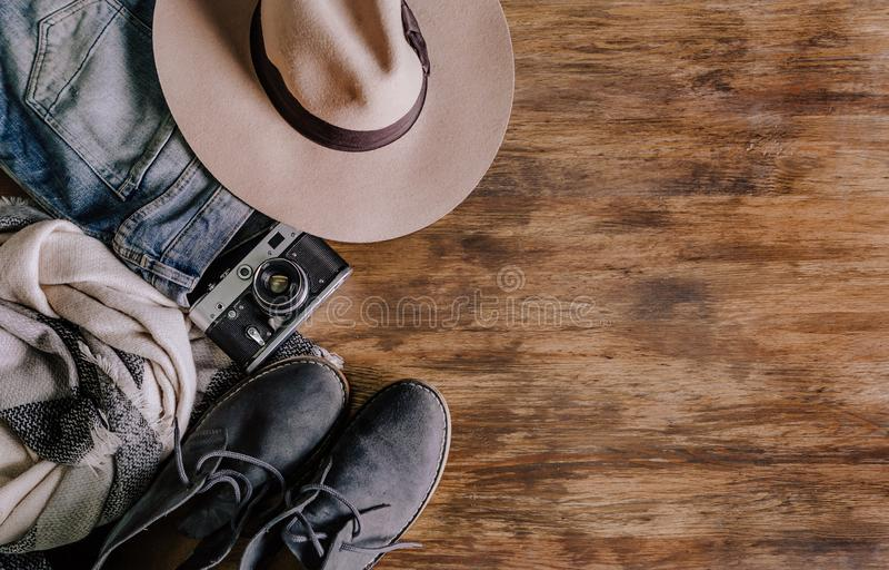 Skor för jeans för kamera för lopptillbehördräkter fotografering för bildbyråer