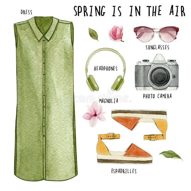 Skor och handväska Uppsättning av moderiktig dräkt och tillbehör: klänning, hörlurar, fotokamera, solglasögon, espadrilles och M royaltyfri illustrationer