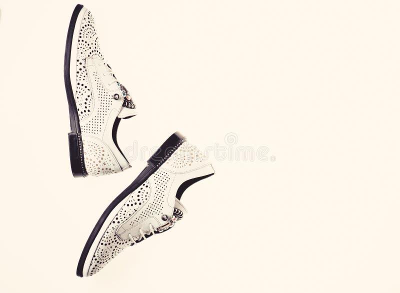 Skor som göras ut ur läder på vit bakgrund som isoleras Skodon på lägenheten som är endast med perforering och bergkristaller, bä royaltyfri fotografi