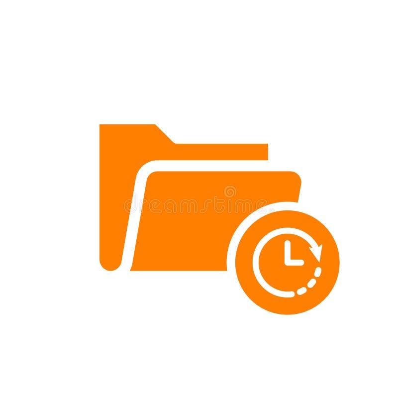 Skoroszytowa ikona, biznesowa ikona z zegaru znakiem Skoroszytowa ikona i odliczanie, ostateczny termin, rozkład, planistyczny sy royalty ilustracja
