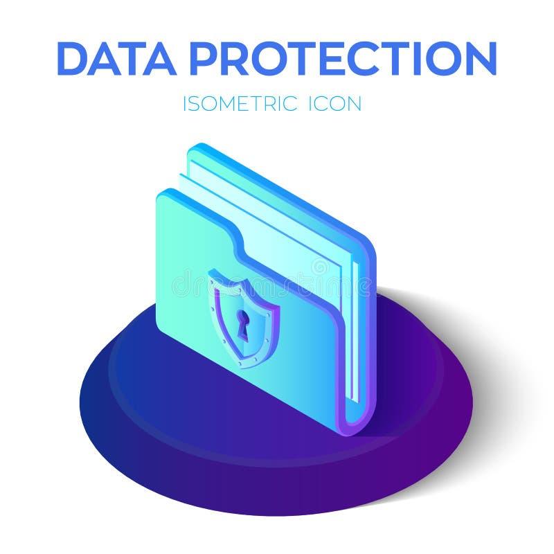 Skoroszytowa ikona 3D falcówki Isometric Zamknięty znak Dane ochrony pojęcie bezpieczeństwo danych Ochrony osłona Tworzący Dla wi ilustracji