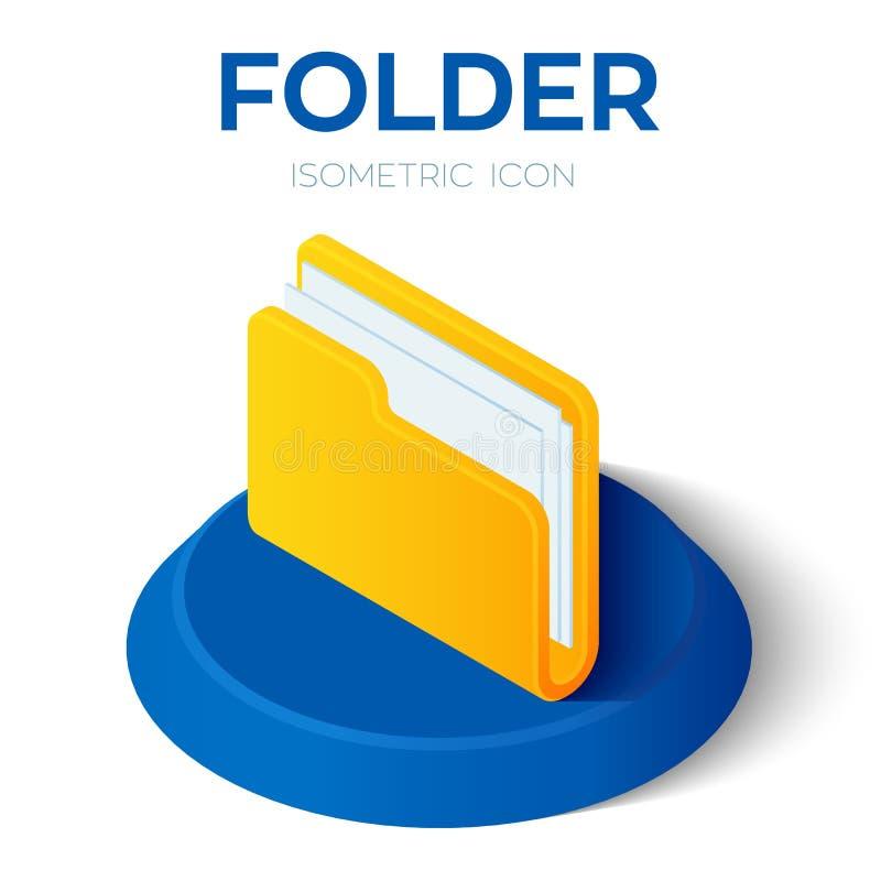 Skoroszytowa ikona 3D falcówki Isometric znak Tworzący Dla wiszącej ozdoby, sieć, wystrój, druków produkty, zastosowanie Doskonal royalty ilustracja