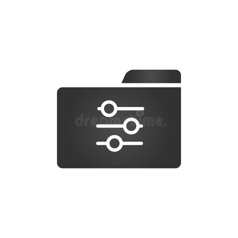 Skoroszytowa ikona z położeniami lub system preferencj ikona w modnym mieszkanie stylu odizolowywającym na białym tle dla twój st royalty ilustracja