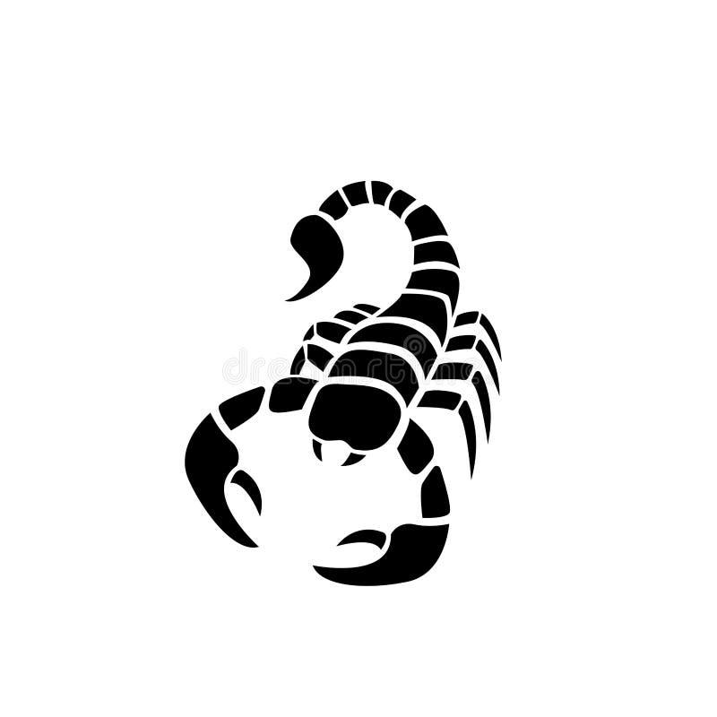 Skorpion ikona w prostym tatuażu stylu, wektor royalty ilustracja
