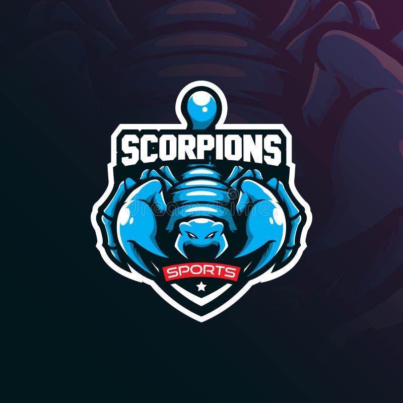 Skorpion maskotki logo projekta wektor z nowożytnym ilustracyjnym pojęcie stylem dla odznaki, emblemata i t koszula druku, Gniewn royalty ilustracja