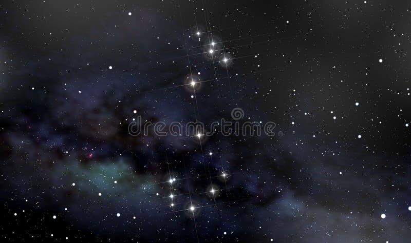 Skorpionkonstellation im nächtlichen Himmel lizenzfreie abbildung