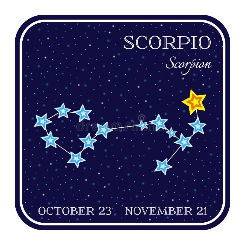 Skorpionstierkreiskonstellation im quadratischen Rahmen stock abbildung