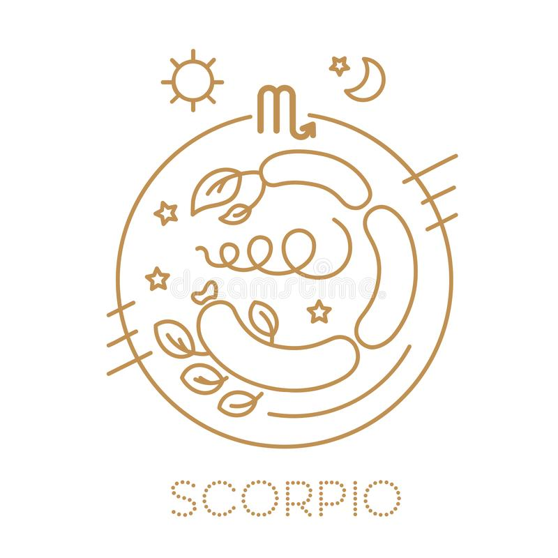 Skorpionsvektorzeichen des Tierkreises in den Kreisen der goldenen Farbe auf einem weißen Hintergrund Astrologische Prognose, Hor stock abbildung