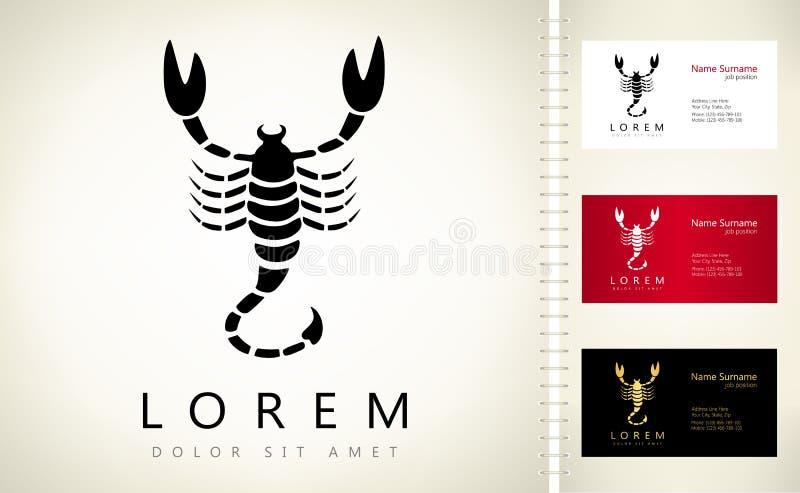Skorpionvektorlogo royaltyfri illustrationer