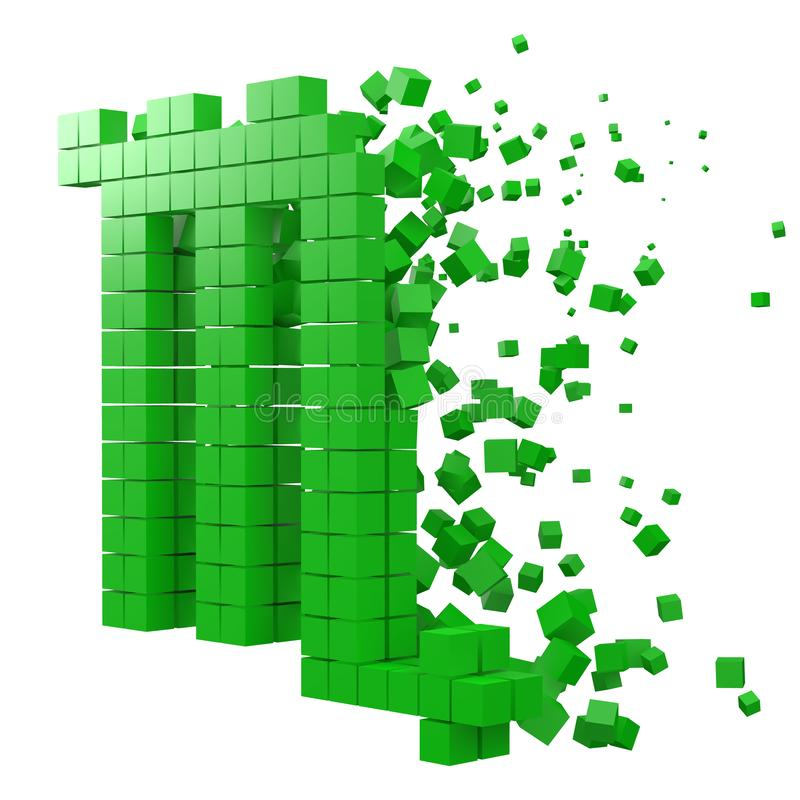 Skorpionzodiaktecknet formade datakvarteret version med gröna kuber f?r stilvektor f?r PIXEL 3d illustration stock illustrationer