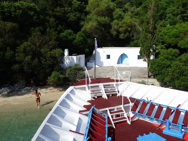 Skorpios海岛,米科诺斯岛海滨别墅 免版税图库摄影
