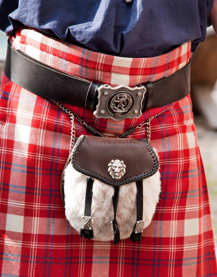 Skotsk Kilt med herdehandväskan royaltyfri fotografi
