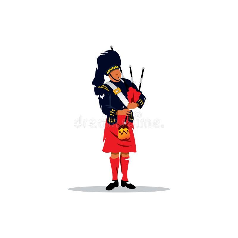 Skotsk säckpipeblåsare också vektor för coreldrawillustration royaltyfri illustrationer