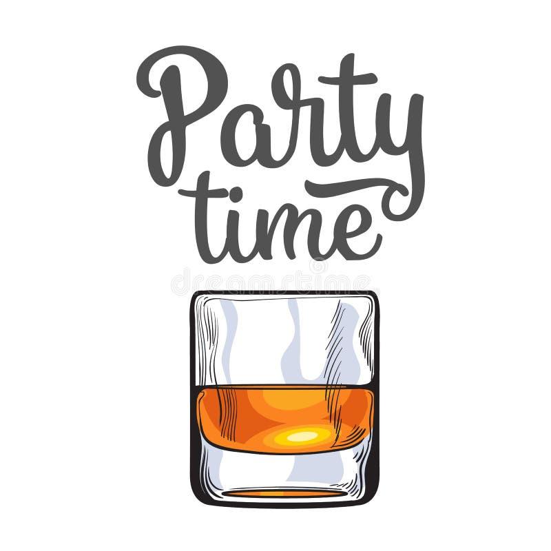 Skotsk whisky rom, konjak sköt exponeringsglas, inbjudan, banermall royaltyfri illustrationer