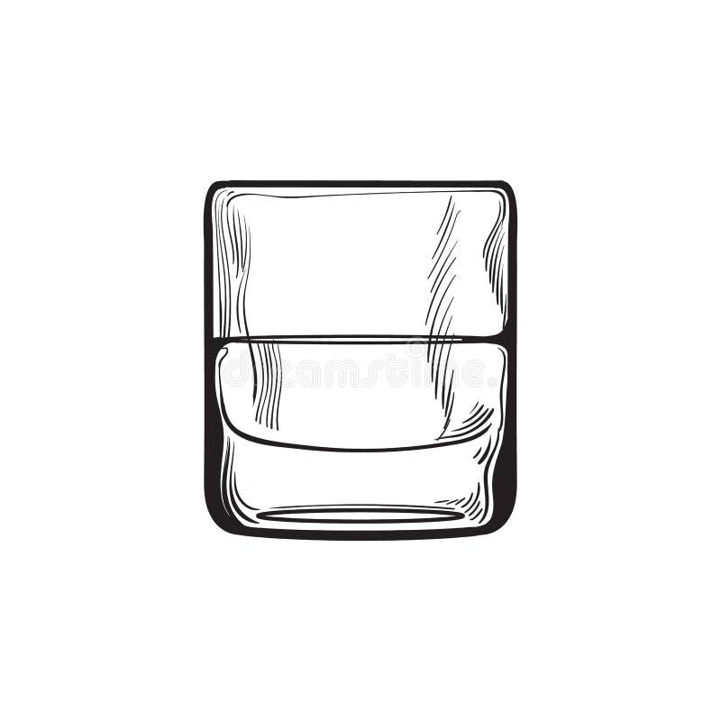 Skotsk whisky rom, konjakskottexponeringsglas vektor illustrationer
