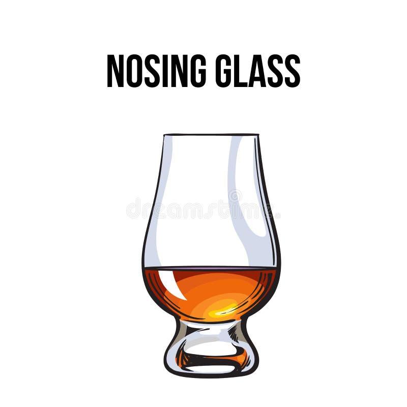 Skotsk whisky rom, konjaktrappnosexponeringsglas vektor illustrationer