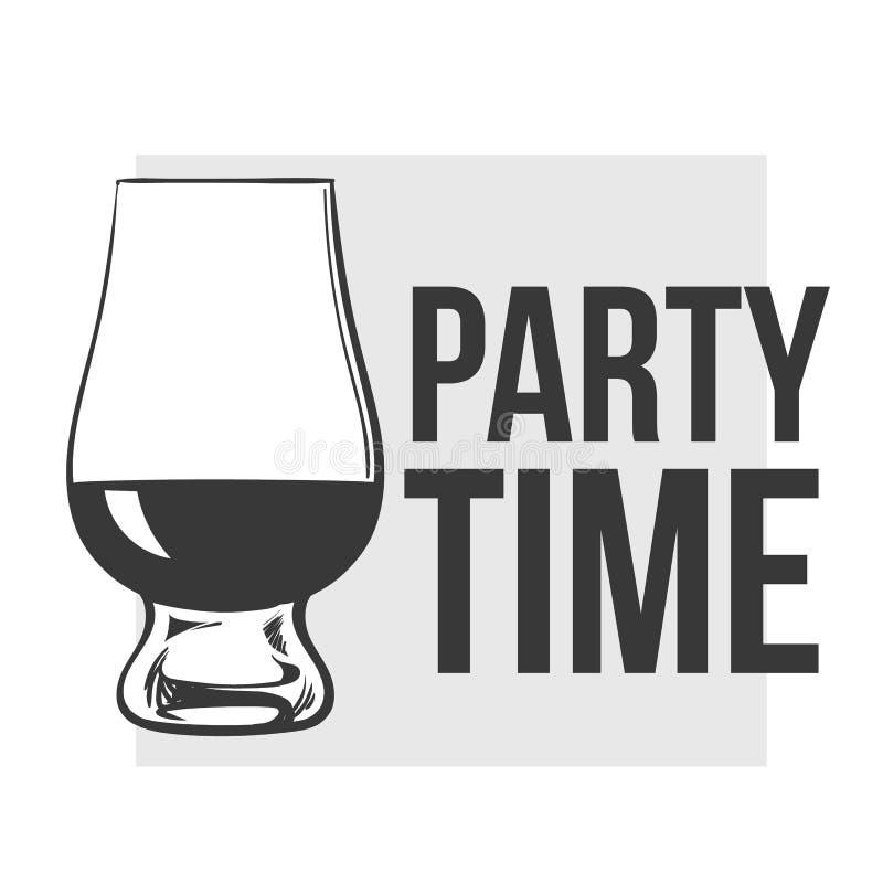Skotsk whisky rom, konjaktrappnosexponeringsglas stock illustrationer