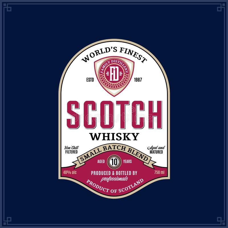 Skotsk whiskyetikettmall vektor illustrationer