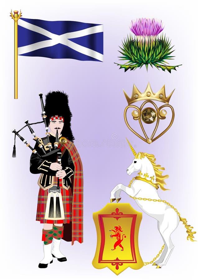 Skotska vektorillustrationer royaltyfri illustrationer