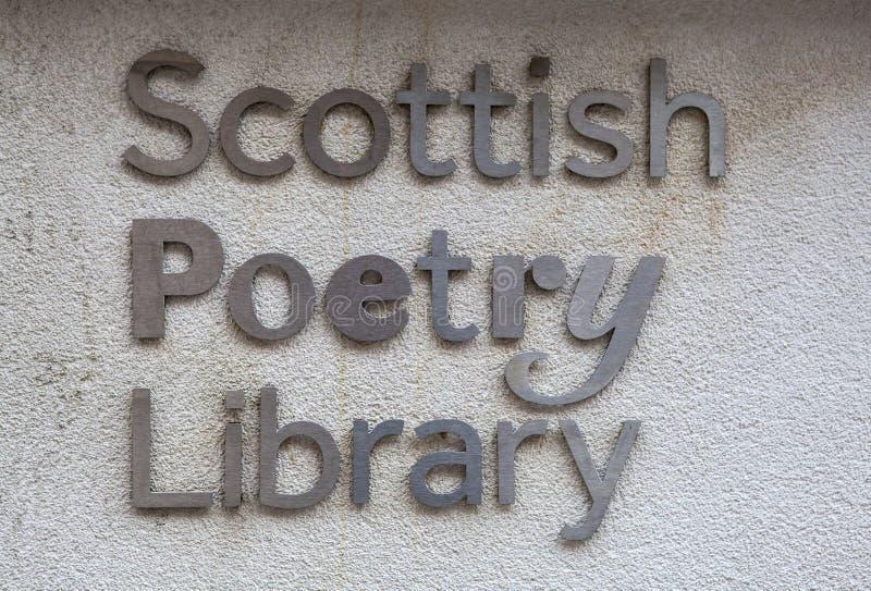 Skotskt poesiarkiv i Edinburg fotografering för bildbyråer