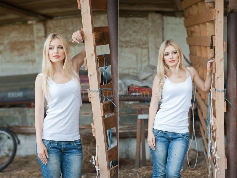 Skott av den härliga flickan nära ett gammalt trästaket Stilfulla blickkläder: vit grundläggande överkant, grov bomullstvilljeans royaltyfri foto