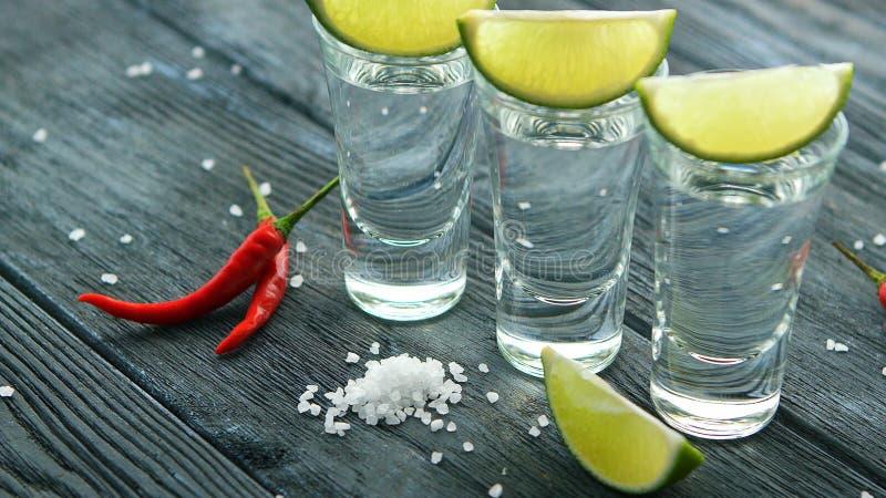 Skott av tequilaen med salt och limefrukt fotografering för bildbyråer