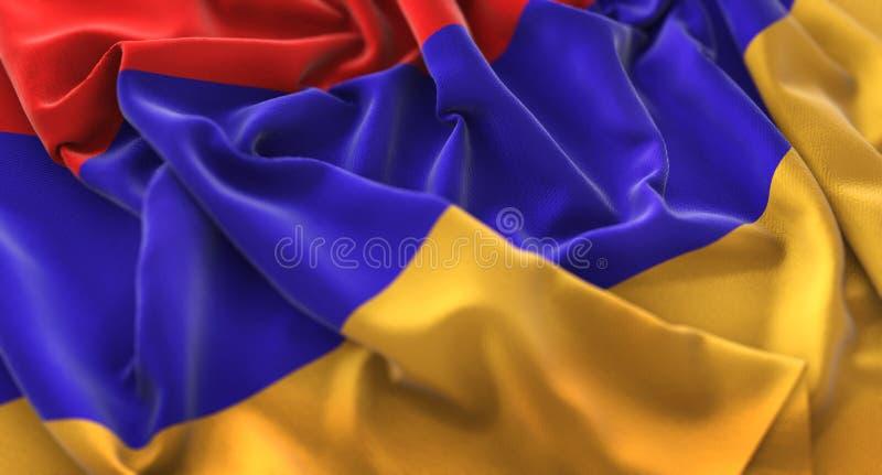 Skott för Armenien flagga rufsat Beautifully vinkande makronärbild arkivfoto
