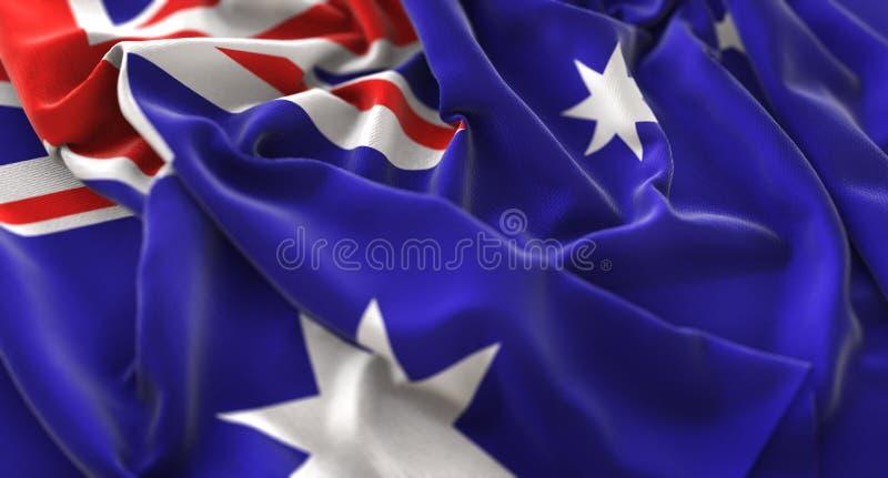 Skott för Australien flagga rufsat Beautifully vinkande makronärbild arkivbilder