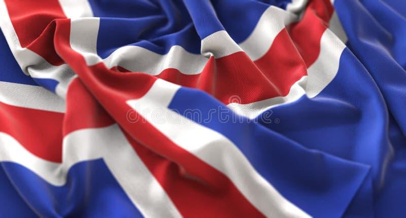 Skott för Island flagga rufsat Beautifully vinkande makronärbild royaltyfri fotografi