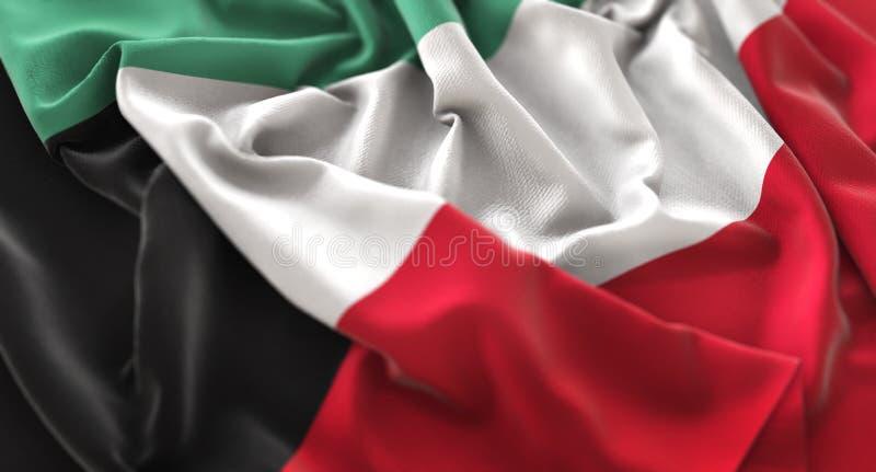 Skott för Kuwait flagga rufsat Beautifully vinkande makronärbild royaltyfria bilder